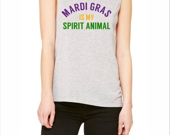 Mardi Gras is My Animal Spirit Shirt in Purple, Green and Yellow!   New Orleans, French Quarter, Happy Hour Shirt