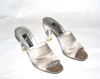 Sweet & Sexy Silver Satin Mules with Lucite Heels- Size 8 US