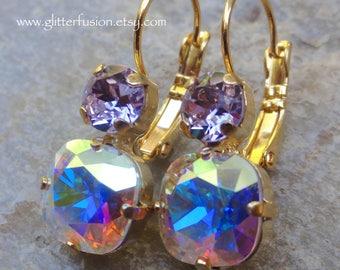Aurora Borealis and Violet Swarovski Crystal Dangle Lever Back Earrings, Iridescent Crystal Statement Earrings, Bridesmaid Crystal Earrings