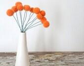 Orange Felt flowers.  Wool Pom pom Flowers.  Faux Flower Bouquet.  Small Floral Arrangement.  Fake Centerpiece.  Craspedia Table Decoration.