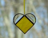 Yellow heart suncatcher ornament, stained glass small heart art, heart gift, Anniversary, wedding, love heart window decoration