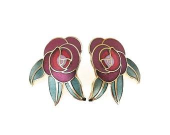 Vintage Laurel Burch Enamel Rose Earrings - Deco Rose, Red Rose, Pink Rose, Laurel Burch Rose, Vintage Earrings, Vintage Jewelry