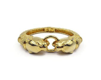 Joan Rivers Panther Head Gold Bangle Bracelet - Double Headed, Gold Plated, Gold Bangle, Statement Jewelry, Vintage Bracelet