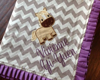 Personalized Baby Blanket- Horse Baby Blanket- Chevron Blanket- Minky Baby Blanket-Nursery Blanket