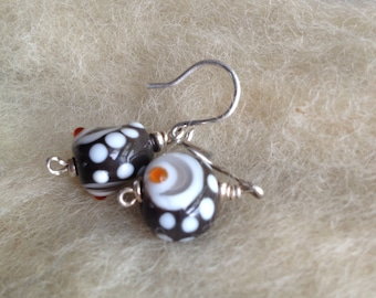Lampworked Glass Bead Earrings + Sterling Silver