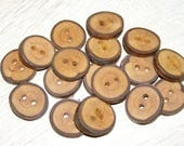 "17 Handmade plum wood Tree Branch Buttons with Bark, accessories (0,87'' diameter x 0,20"" thick)"