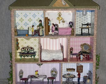 OOAK Shadow Box Doll House with Family, Quarter Inch Scale, Vintage Metal Furniture