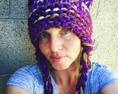 Hoodware's Deluxe XL Wine and Gold Pussy Cat Ear Hat Extra Thick and Warm Beanie (lightweight crossbody/waist bag) Nasty Woman Idaho Yotes