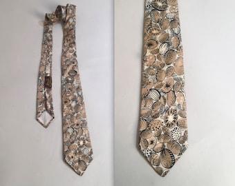 1940s abstract fruit and vegetables print necktie • vintage 40s tie • silk evening tie