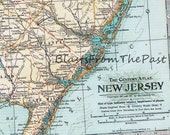 1911 Antique MAP of NEW JERSEY, Authentic, Perfect for Framing, Century Atlas, Jersey Shore, Newark, Princeton, Trenton, Rutgers, Seton Hall