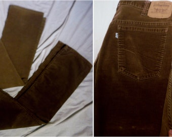 Lot of Two Vintage 70s LEVIS 517 Model 32 X 28  Brown Hued Corduroy Festival White Tab Bootcut Flared Pants