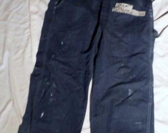 134 Unisex Vintage Sears brand Indigo scovill zip fly Denim 34 X 28 Bib Carpenter bib Utility Overalls