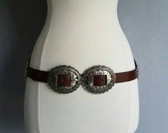 Vintage DOUBLE CONCHO BOHO Belt Buckle Belt (s-m)