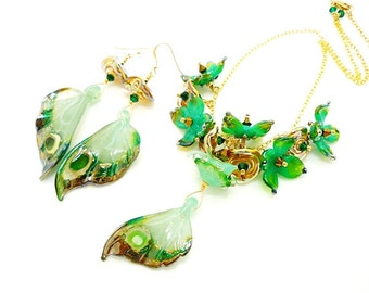Green Butterfly Wing Necklace Earring Set, Butterfly Necklace, Butterfly Jewelry, Lampwork Necklace, Glass Bead Jewelry, Butterfly Earrings