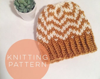 Knitting Pattern Hat Womens Hat Instant Download Fair Isle Hat Pattern  Pom Pom Hat Pattern  Knit Pompom Hat Pattern Womens Accessories