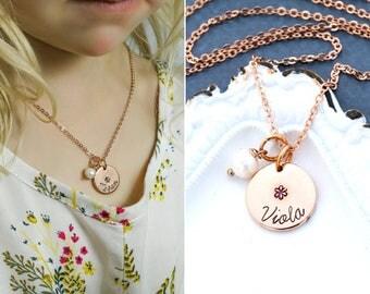 SALE • Rose Gold Flower Girl Gift • Flower Girl Necklace • Custom Wedding Gift • Rose Gold Jewelry •Custom Girl Necklace Pink Pearl Necklace