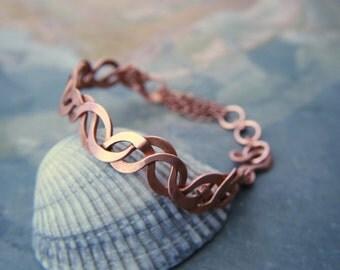 SALE Copper cuff bracelet- hammered copper, artisan,metal weave,indiemade-art nouveau-ooak- valentines gift, elegant, Lemurian Diamond, Bibi