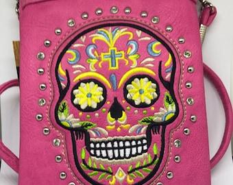 Small Pink Sugar Skull Purse