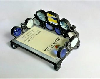 Gift Office Business Card Holder Glass Handmade Stained glass Fusing Stand Original White Blue