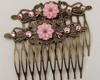 Pink Mum, Tiny Honey Bee, Pink Swarovski Crystal,Hair Jewelry, Antiqued Brass, Flower Hair Combs,Bride,Bridesmaid,Wedding Accessories