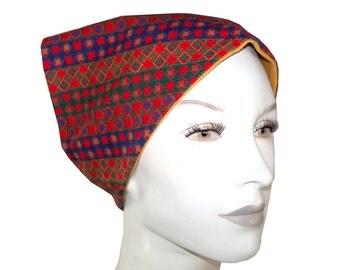 Vintage 70's Psychedelic Earthtone Print Corduroy Head Scarf Kerchief, Reversible Mustard Yellow Headkerchief