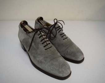 Vintage ANNE KLEIN II Italy Taupe Gray Suede Oxfords Lace Ups Block Heel Size 7 M