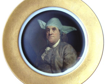 Yodamin Franklin Portrait Plate - Altered Antique Plate 11""