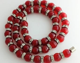 """Spectacular Red Crystal with Clear Crystal Spacer 20"""" Necklace"""