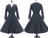 50s Dress, 1950s New Look Dress, 50s Coat Dress, Fit and Flare Dress, Black Wool Button Dress, Medium