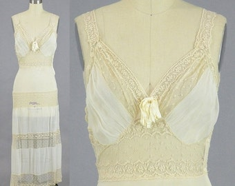 SALE 1930s Lace Nightgown, 30s Lingerie, Sheer Silk and Lace Bridal Slip, Beau Monde 32 Bust