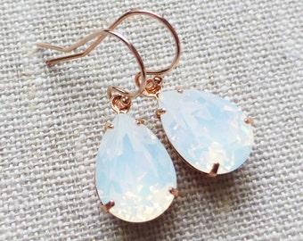 Opal Swarovski Rose Gold Earrings, White Opal Crystal Rhinestone Earrings, Crystal Teardrop Earrings, Bridesmaid GIfts, Wedding Jewelry