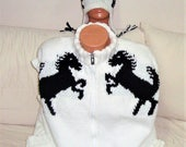 Custom Knit for Nancy Hand Knit Mens Vest and Hat set