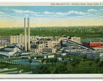 John Morrell Co Meat Packing Plant Sioux Falls South Dakota linen postcard