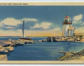 Brant Point Light Lighthouse Nantucket Massachusetts linen postcard