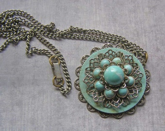 Vintage Faux Turquoise Necklace, Silver Tone Necklace, Layered Necklace, Vintage Filigree Necklace, Blue Necklace