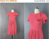 SALE - Vintage 1950s Dress / 50s Day Dress / 1950 Coral Pink Wool Knit / Pleated Dress / Size Small Medium 4 to 6