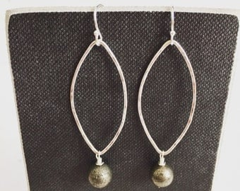 Pyrite Silver Earrings - Handmade - Everyday Jewelry - Sterling Silver Gemstone Earrings