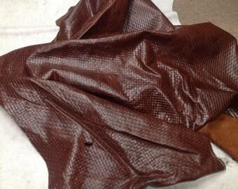 CLFE160.  Brown Embossed Basketweave Leather Cowhide