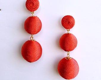 Red Cord wrapped Les Bonbon bon bon Earrings