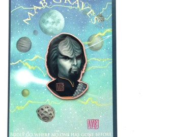 Worf - special DesignerCon edition Star Trek fan art offset enamel pin brooch by Mab Graves