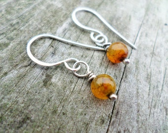 Sterling Silver Earrings/ Dragons Vein Agate with Handmade Gift pouch