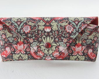 NEW Glasses case/ Eyeglass case/ sunglasses case/ reading glasses case/Liberty fabric/strawberry thief/shades of green and red