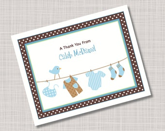 Custom Baby Boy Clothes Thank You Note Cards