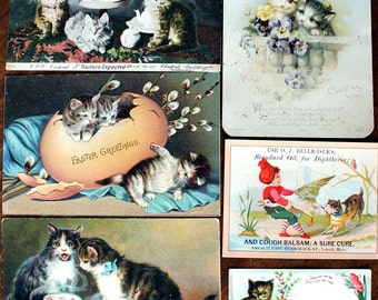 6 Victorian Cat Cards, Antique Images, Original Kitten Cards Cut From Albums, Die Cuts, 13899