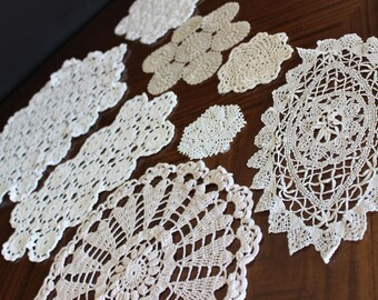 Crochet Doilies, 8 Assorted Knit Doily Lot, Vintage Doily Collection, White and Ecru 13927