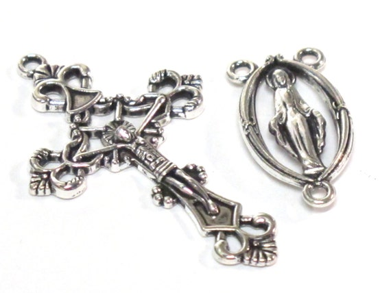 1 set - Rosary cross connector with center medal piece antiqued silver color pendant set - rosary making - GB055