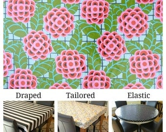 Laminated cotton aka oilcloth tablecloth custom size and fit choose elastic, tailored or draped Amy Butler Cameo Tea Rose Silver