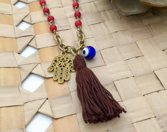 Tassel Necklace, Evil Eye Necklace, Stone Necklace, Boho Necklace, Gift Ideas, Handmade Necklace, Hamsa Necklace