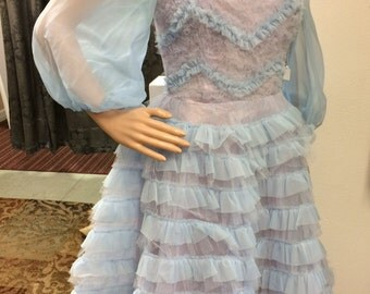50s Formal blue Prom Gown Vintage Tulle 1950s S 35 Bust