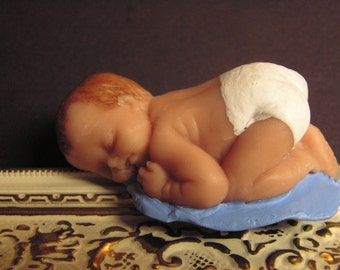 Polymer clay sculpt, baby boy  with polymer blanket 2.5 inches
